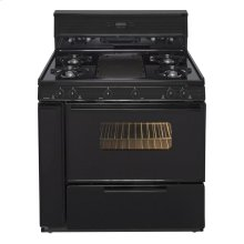 36 in. Freestanding Gas Range with 5th Burner and Griddle Package in Black