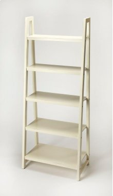 This Mid-Century modern bookcase will stylishly display books and collectibles. Featuring a slanted five shelf design, it is crafted from mahogany wood solids, wood products and select mahogany veneers in a white painted finish. It is perfect for use alon
