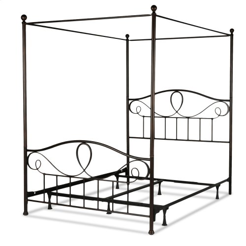 Sylvania Complete Metal Canopy Bed and Steel Support Frame with 83-Inch Final Posts, French Roast Finish, Queen