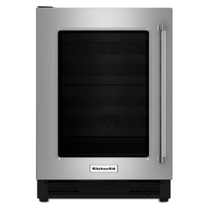 "Kitchenaid24"" Undercounter Refrigerator with Glass Door Stainless Steel"