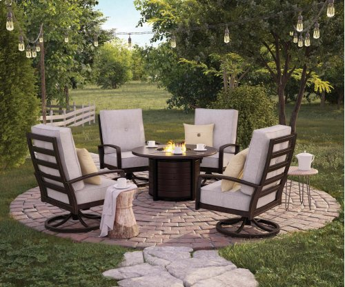 Castle Gray Fire Pit Table with 4 Swivel Chairs - 5 Piece Set