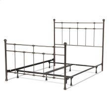 Dexter Complete Bed with Decorative Metal Castings and Globe Finials, Hammered Brown, Twin