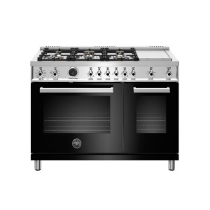 Bertazzoni48 inch Dual Fuel Range, 6 Brass Burners and Griddle , Electric Self Clean Oven Nero