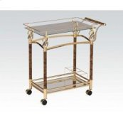 Gold Serving Cart W/clr Glas