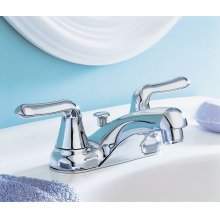 Colony Soft 2-Handle 4 Inch Centerset Bathroom Faucet Standard Drain - Polished Chrome
