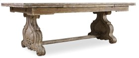"""Dining Room Chatelet Refectory Rectangle Trestle Dining Table with Two 22"""" Leaves"""