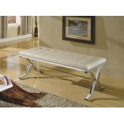 BEIGE PU/CHROME BENCH Product Image