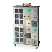 This stunning accent chest is handcrafted from mango hardwood solids and wood products and hand finished in a whimsical profusion of pastels. It features abundant storage with two top drawers and compartments behind four doors on the bottom right and left Product Image