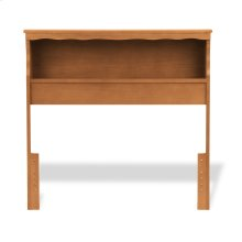 Barrister Wood Bookcase Headboard with Nightstand Top Surface and Retro Design, Bayport Maple Finish, Queen