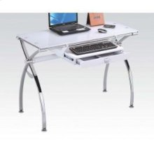 Computer Desk W/white Glass