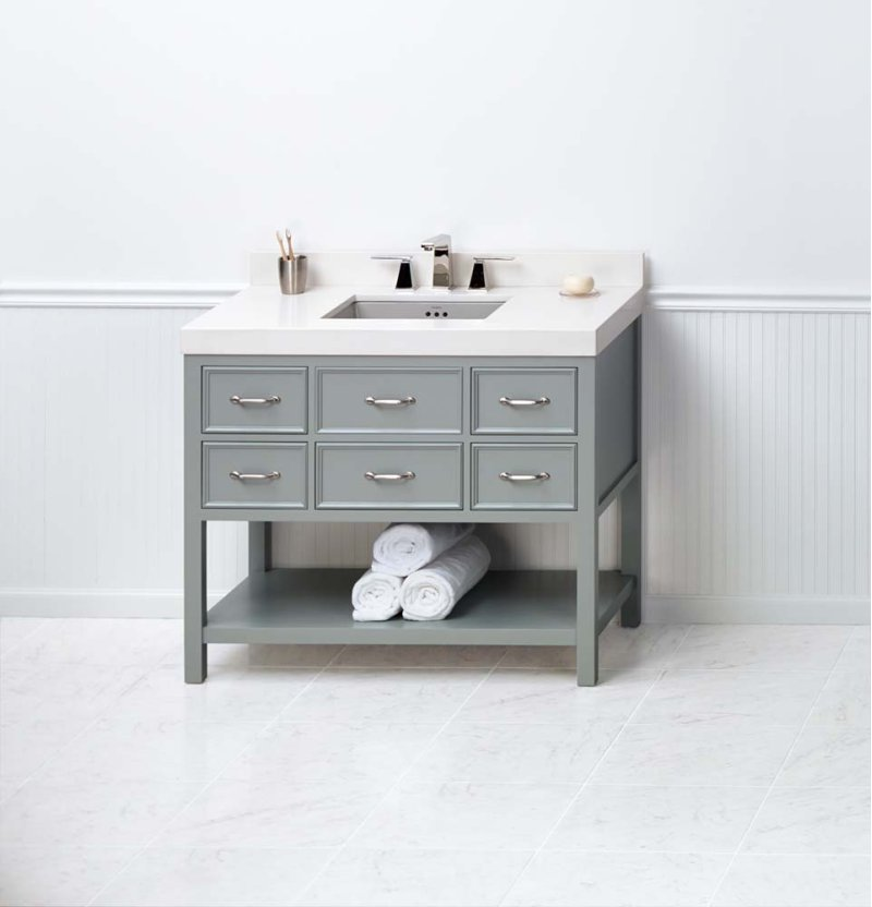 """Newcastle 42"""" Bathroom Vanity Cabinet Base in Ocean Gray"""