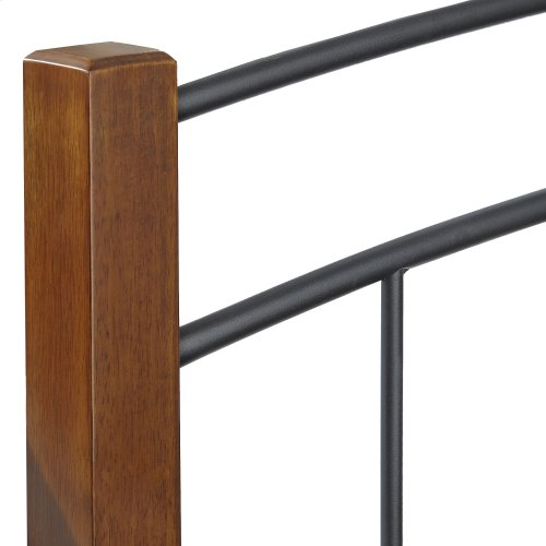 Benson Metal Headboard Panel with Maple Wood Posts and Sloping Top Rail, Black Finish, California King