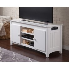 Nantucket 50 inch Entertainment Console with Adjustable Shelves and Charging Station in White