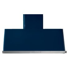 "Midnight Blue with Stainless Steel Trim 48"" Range Hood with Warming Lights"