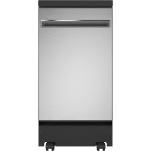 "GE®18"" Stainless Steel Interior Portable Dishwasher with Sanitize Cycle"