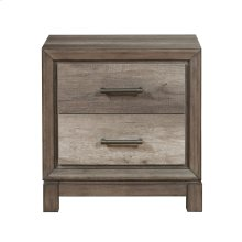 2 Drawer USB Charging Nightstand in Elm Brown