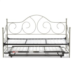 Caroline Complete Metal Daybed with Link Spring Support Frame and Pop-Up Trundle Bed, Flint Finish, Twin -