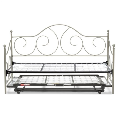 Caroline Complete Metal Daybed with Link Spring Support Frame and Pop-Up Trundle Bed, Flint Finish, Twin