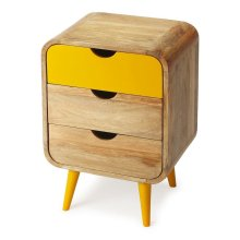 This Mid-Century-inspired chairside chest will stylishly enhance your space. Featuring a modern loft aesthetic, it is hand crafted from mango wood solids, mdf.