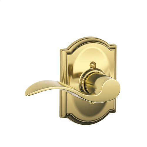 Accent Lever with Camelot Trim Non-Turning Lock - Bright Brass