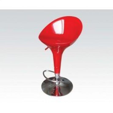 Red/chrome Swivel Adj Stool @n
