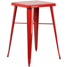 23.75'' Square Red Metal Indoor-Outdoor Bar Height Table