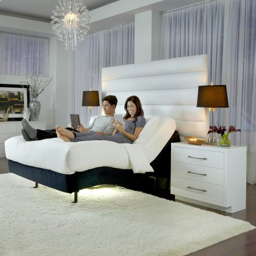 P-132 Foundation Style Adjustable Bed Base with LPConnect and (8) USB Ports, Black Finish, Queen