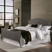 Barrington Metal Bed with Industrial Circular Designed Headboard and Footboard, Silver Bisque Finish, Queen
