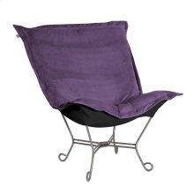 Scroll Puff Chair Bella Eggplant Titanium Frame