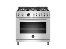 36 inch Dual Fuel Range, 6 Brass Burner, Electric Self-Clean Oven Stainless