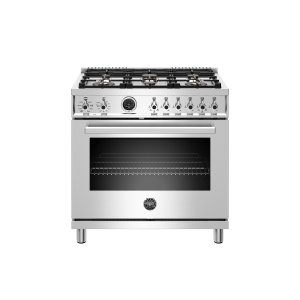 Bertazzoni36 inch Dual Fuel Range, 6 Brass Burner, Electric Self-Clean Oven Stainless