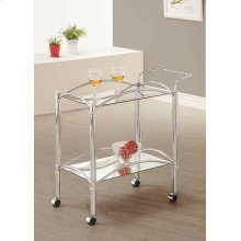 Traditional Chrome and Glass Serving Cart