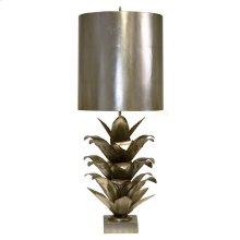Silver Leaf Brutalist Palm Table Lamp With Silver Metal Shade Ul Approved for One 60 Watt Bulb