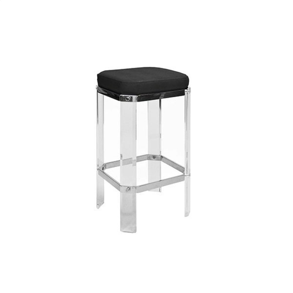 Acrylic Counter Stool With Nickel Accents & Black Shagreen Cushion