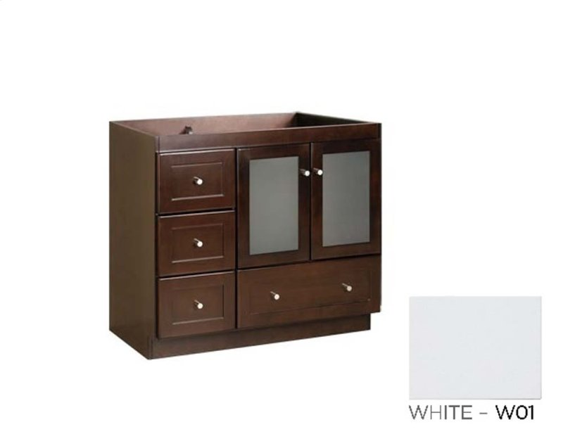 Bathroom Vanity Cabinet Base In White Frosted Gl Doors On Right Hidden Product