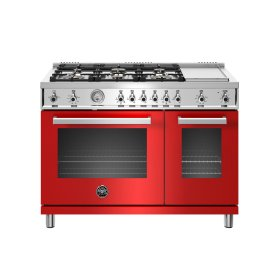 48 inch All-Gas Range 6 Brass Burner and Griddle Rosso
