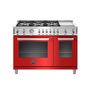 48 inch All-Gas Range 6 Brass Burner and Griddle Rosso - ROSSO