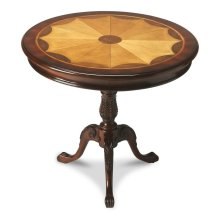 Made from selected solid wood and choice cherry veneers. Maple and walnut inlay. Unique design with burnished pattern lines. Hand carved center turning support and base.