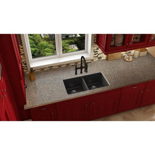 "Elkay Quartz Luxe 33"" x 18-1/2"" x 9-1/2"", Equal Double Bowl Undermount Sink"