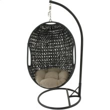 Hanging Wicker Pod Swing with Sage Green Cushion