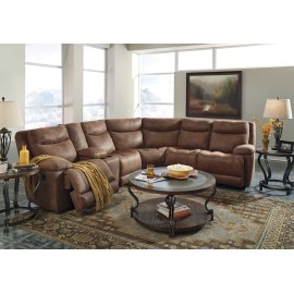 Valto 7-Pc Sectional LAF Zero Wall Pwr Recliner w/ Consoles, Armless Chairs, Wedge, and RAF Zero Wall Pwr Recliner