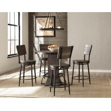 Jennings 5 Piece Round Counter Height Dining Set With Swivel Counter Stools - Distressed Walnut Wood