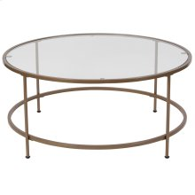 Glass Coffee Table with Matte Gold Frame