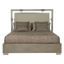 Queen-Sized Mosaic Upholstered Panel Bed in Dark Taupe (373)