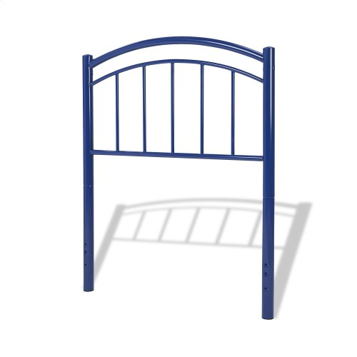 Rylan Fashion Kids Complete Metal Bed and Steel Support Frame with Gently Arced Panels and Vertical Spindles, Cadet Blue Finish, Twin