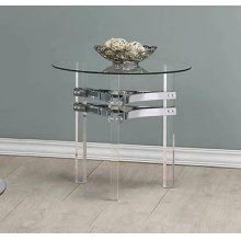 Contemporary Chrome Round Side Table