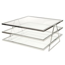 3-tier Nickel Plated Coffee Table With Beveled Clear Glass Shelves.