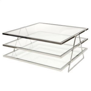 Worlds Away 3-Tier Nickel Plated Coffee Table With Beveled Clear Glass Shelves.