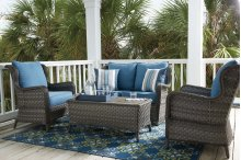 Abbots Court - Blue/Gray 4 Piece Patio Set