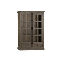 Tuscan Retreat® Double Door Cabinet (glass Front and 2 Drawers) - Aged Gray